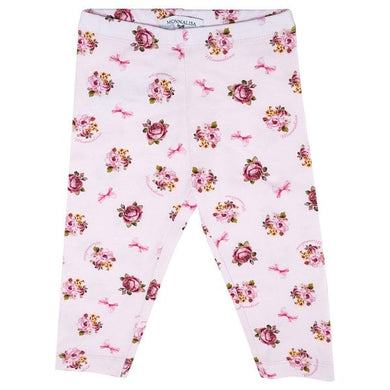 Pink Floral Bow Leggings