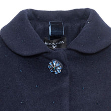 Load image into Gallery viewer, Navy Wool Rhinestone Coat