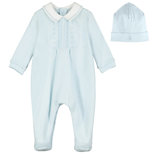 Blue Embroidered Babygrow & Hat