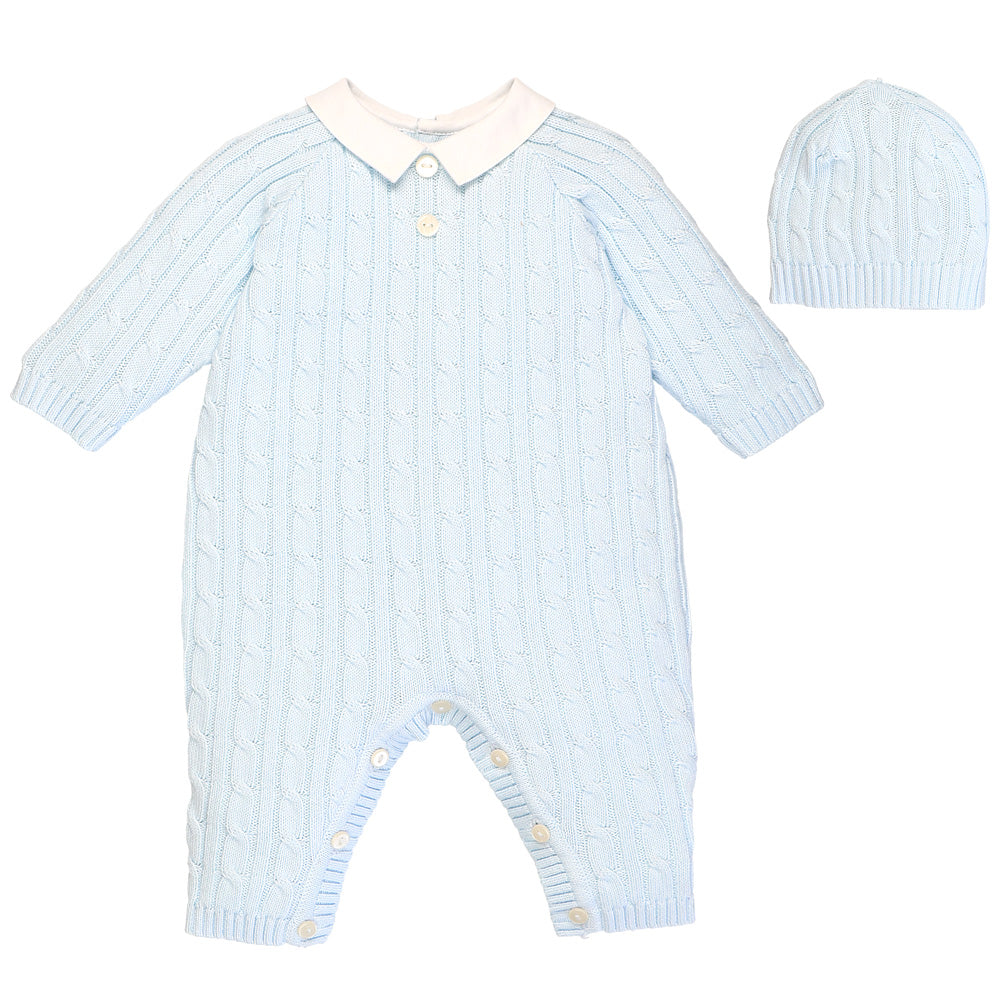 Blue Cable Knit Babysuit & Hat