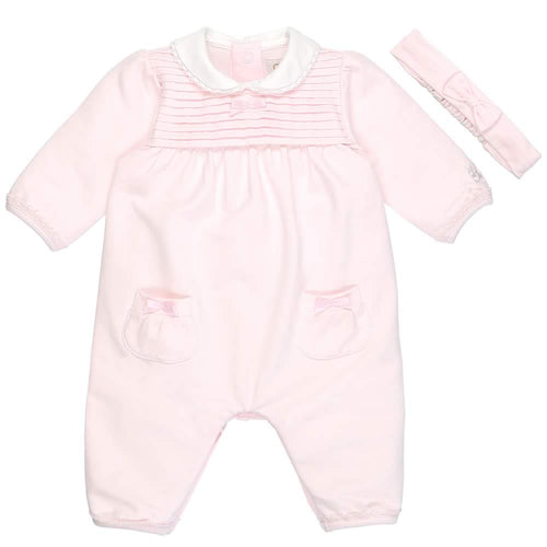 Pink Pleated Babygrow & Headband