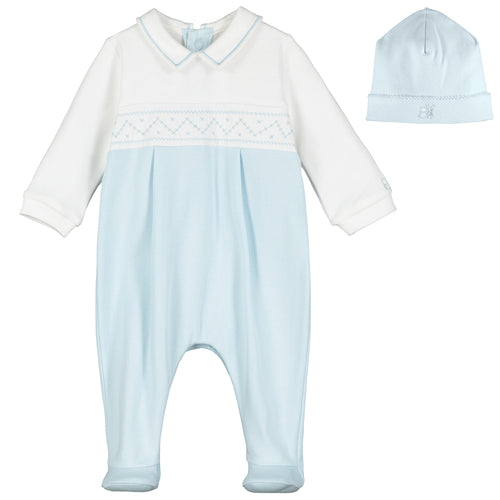 White & Blue Interlock Babygrow & Hat