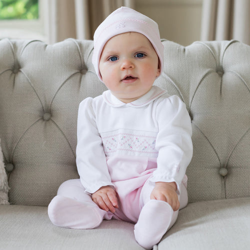 White & Pink Rose Babygrow & Hat