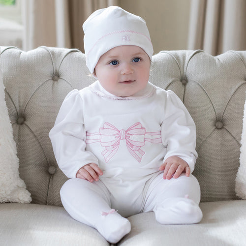 White Bow Babygrow & Hat