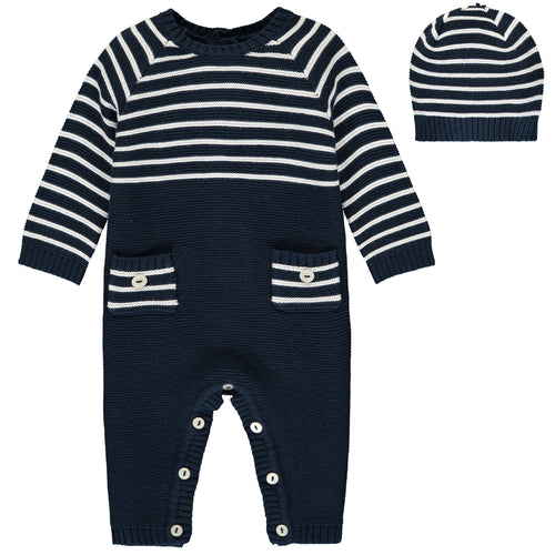 Navy Stripe Knitted Babysuit & Hat