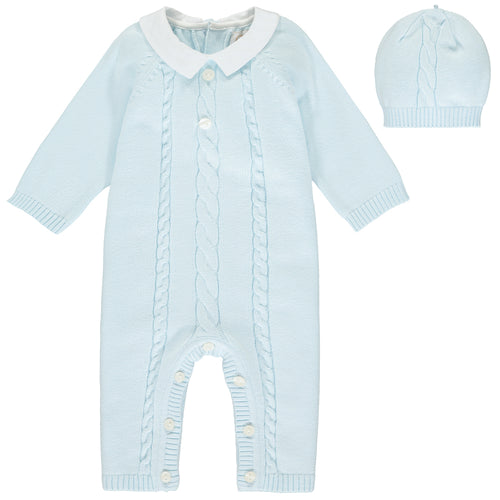 Blue Knitted Babysuit & Hat