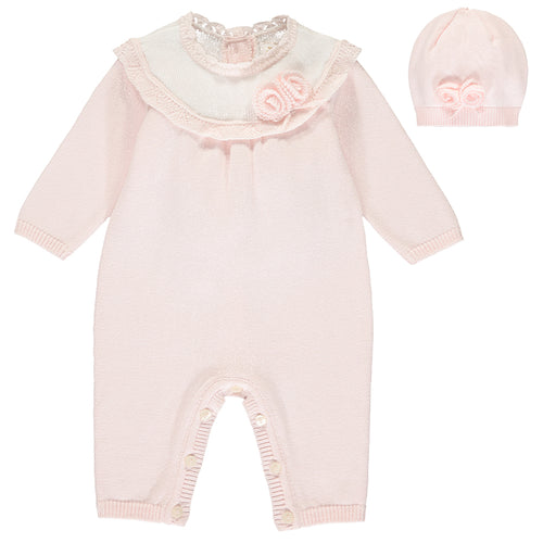 Pink Knitted Rose Babysuit & Hat