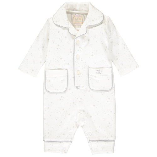 White & Grey Stars Babysuit