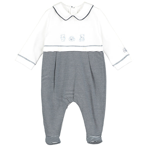 White & Navy Stripe Babygrow