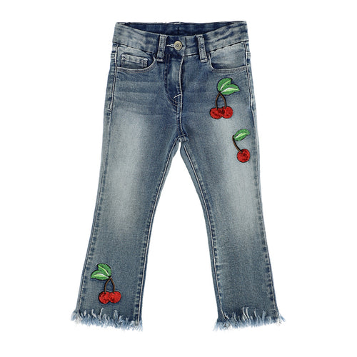 Denim Sequin Cherry Jeans