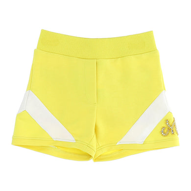 Yellow 'M' Diamante Sweat Short