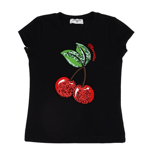 Black Sequin Cherry T-Shirt