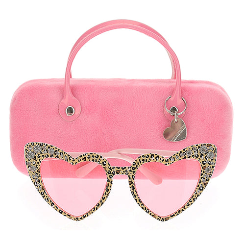 Pink Heart Leopard Sunglasses