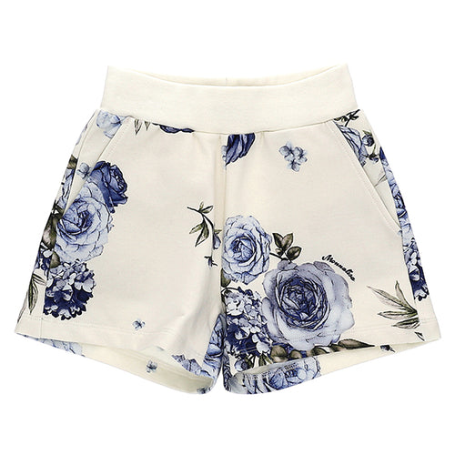 Ivory & Blue Floral Shorts
