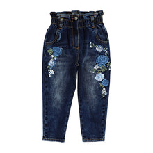 Load image into Gallery viewer, Denim Blue Floral Jeans