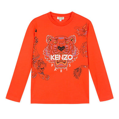 Kenzo Boys Sale Orange Tiger Top
