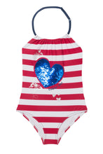 Load image into Gallery viewer, Stripe Reversible Sequin Swimsuit