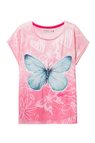 Pink Butterfly Reversible Sequin T-Shirt
