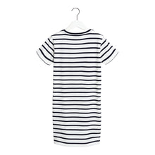 Load image into Gallery viewer, White & Navy Stripe Dress