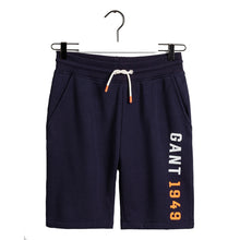 "Load image into Gallery viewer, Navy ""New Haven"" Logo Sweat Shorts"