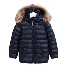 Load image into Gallery viewer, Navy Girls Faux Fur Puffer Coat