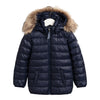 Navy Girls Faux Fur Puffer Coat