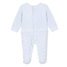 Load image into Gallery viewer, Blue Velour Animals & Clouds Babygrow