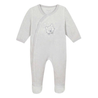 Grey Velour Tiger & Stars Babygrow