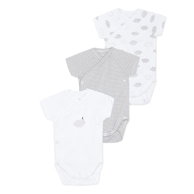 White & Grey 3 Pack Babygrows