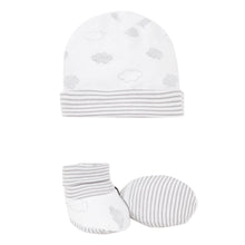 Load image into Gallery viewer, White & Grey Cloud Hat and Bootie Set