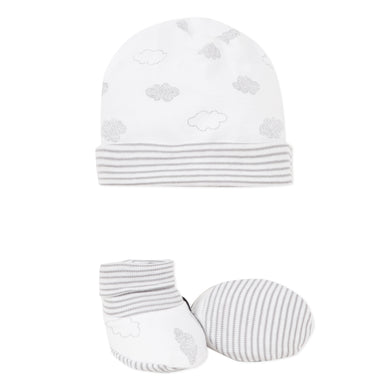 White & Grey Cloud Hat and Bootie Set