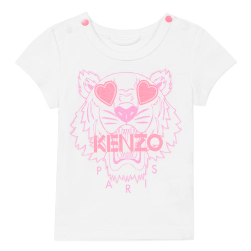 White Baby Girls Tiger Heart T-Shirt