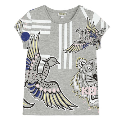 Grey Girls Multi Print T-Shirt