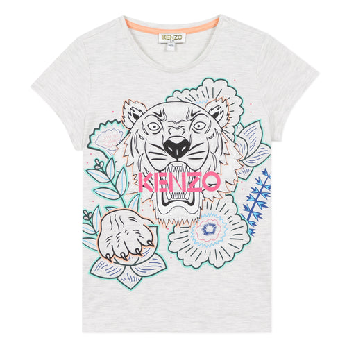 Grey Girls Tiger & Flower T-Shirt