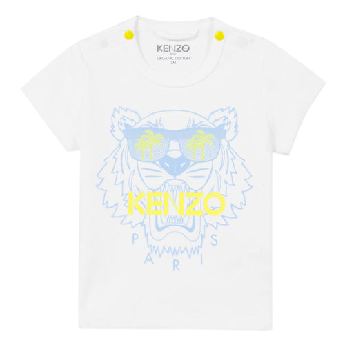 Boys White Sunglasses Tiger T-Shirt