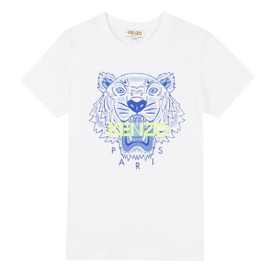 KENZO Boys White & Blue Tiger T-Shirt