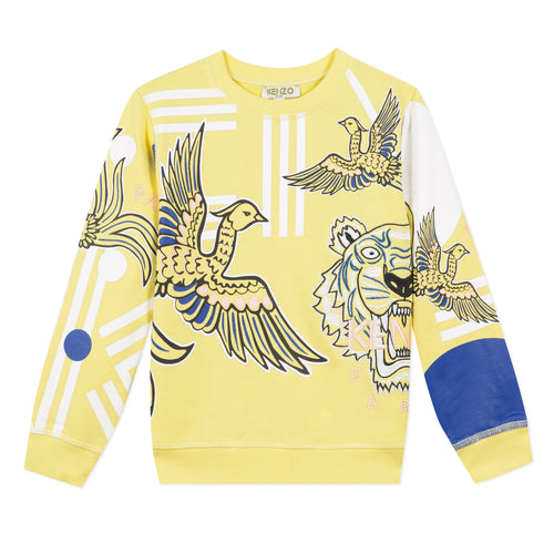 Yellow Girls Tiger & Phoenix Sweat Top