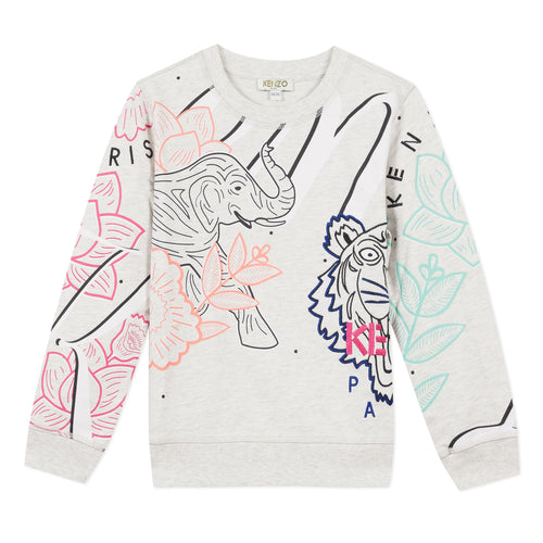 KENZO Grey Girls Elephant & Tiger Sweat Top