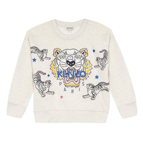 Beige Embroidered Tiger & Friend Sweat Top