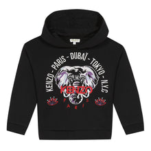 Load image into Gallery viewer, Girls Black Elephant City Hoody