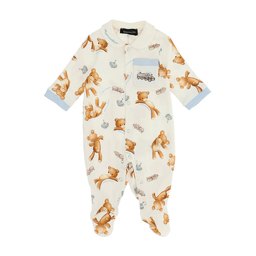 Ivory & Blue Teddy Train Babygrow