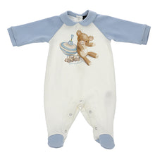 Load image into Gallery viewer, Ivory & Blue Teddy Babygrow