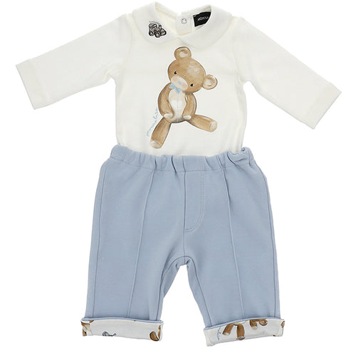 White & Blue Teddy 2 Piece Set