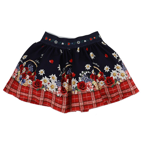 Navy & Red Check Floral Skirt