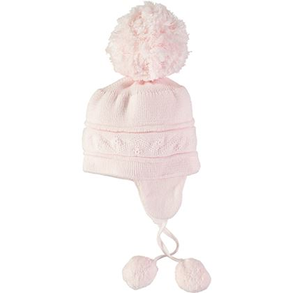 Pink Bobble Hat With Ties