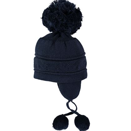 Navy Bobble Hat With Ties