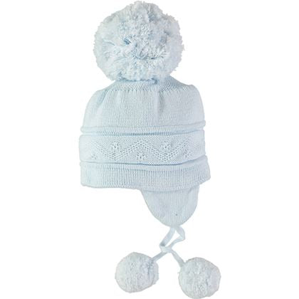 Pale Blue Bobble Hat With Ties