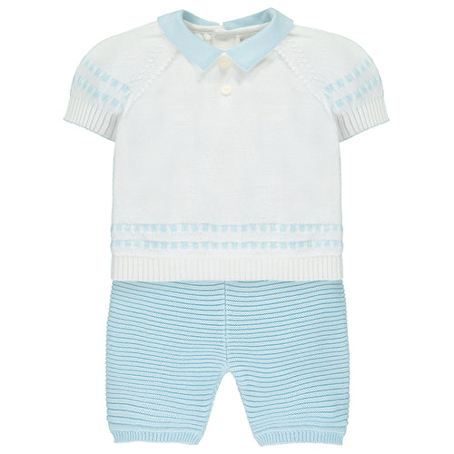 Emile et Rose - White & Blue Knitted Top and Shorts
