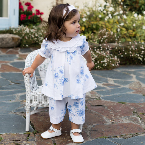 Emile et Rose - White & Blue Floral Leggings Set