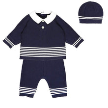Load image into Gallery viewer, Navy & White Knitted 3 Piece Set
